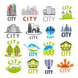 Collection of vector city logo Royalty Free Stock Images