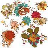 Collection of vector colored  elements  in vintage style for des Stock Image