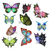 Collection of vector colorful  realistic butterflies for Stock Photography