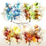 Collection of vector colorful trees for design Stock Images
