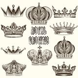 Collection of vector crowns for design Stock Photos