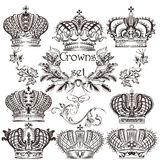 Collection of vector crowns in vintage style Stock Images