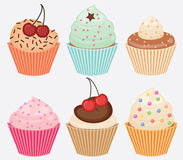 Collection of vector cupcakes Stock Images