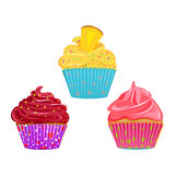 Collection of vector cupcakes Royalty Free Stock Photos