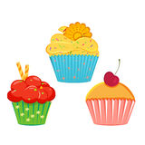Collection of vector cupcakes. Set of vector cupcakes, muffins with different toppings and cases. Cream topping with sprinkles cupcake collection isolated on Stock Image
