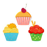 Collection of vector cupcakes Royalty Free Stock Photography