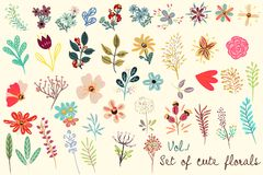 Collection of vector cute florals in rustic simple style. Great. For fabric designs Royalty Free Stock Image