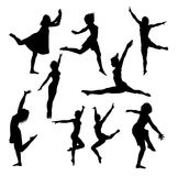 Collection of vector dance silhouettes stock image