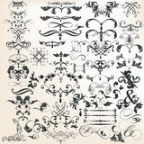Collection of vector decorative calligraphic elements for design Stock Photo