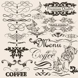 Collection of vector decorative calligraphic elements and page d Royalty Free Stock Photography