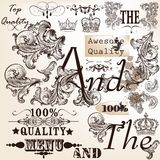 Collection of vector decorative elements and headlines for desig Royalty Free Stock Images