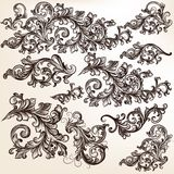 Collection of vector decorative floral swirls for design Stock Photos