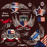 Collection of vector decorative heraldic elements USA symbols Royalty Free Stock Image