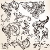 Collection of vector decorative swirl elements in vintage style Royalty Free Stock Images