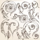 Collection of vector decorative swirl floral Royalty Free Stock Photos