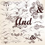 Collection of vector decorative swirls and flourishes stock illustration