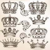 Collection of vector detailed crowns Royalty Free Stock Photography