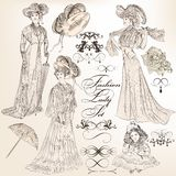 Collection of vector detailed  fashion lady in old-fashioned vin Stock Photo