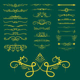 Collection of vector dividers calligraphic style vintage border frame design decorative illustration. Royalty Free Stock Images