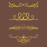 Collection of vector dividers calligraphic style vintage border frame design decorative illustration. Stock Images