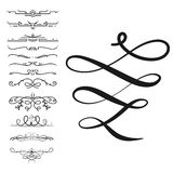 Collection of vector dividers calligraphic style vintage border frame design decorative illustration. Royalty Free Stock Image