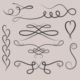 Collection of vector dividers calligraphic style vintage border frame design decorative illustration. Stock Photography