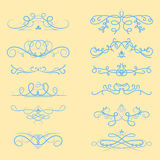 Collection of vector dividers calligraphic style vintage border frame design decorative illustration. Stock Image
