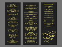 Collection of vector dividers calligraphic style vintage border frame design decorative illustration. Royalty Free Stock Photos