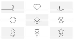 Collection of vector dividers for text. Cardiogram of the heart. Cardiogram of the heart with figures on the line. Collection of vector dividers for text. Linear Stock Image