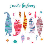 Collection of vector doodle feathers and decorative elements Stock Photography