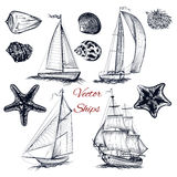 Collection of vector elements on theme of sea Royalty Free Stock Photography