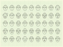 Collection of vector emotion face. On graph paper royalty free illustration
