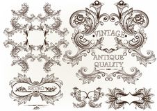 Collection of vector engraved frames in antique vintage style Stock Photography