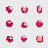 Collection of vector faceted gemstone illustrations with sparkle. S, polygonal. Luxury logotypes Royalty Free Stock Photo