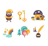 Collection of vector fairy tale elements, icons Royalty Free Stock Images