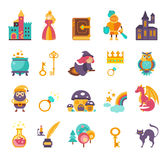 Collection of vector fairy tale elements, icons Royalty Free Stock Photo