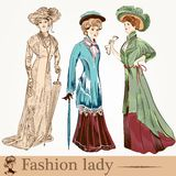 Collection of vector fashion ladies wearied in old-fashioned clo Stock Photo