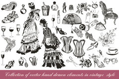 Collection of vector fashion lady set accessories clothiers  Stock Image