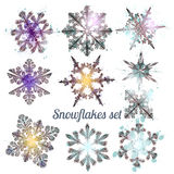 Collection  of vector filigree snowflakes for Christmas design Royalty Free Stock Images