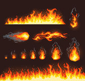 Collection of vector fire illustrations Royalty Free Stock Images
