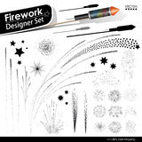 Collection of Vector Firework Rocket Explosion Effects - Design. Collection of Vector Firework Rocket Explosion Effects - Set of Blasting Pyrotechnics. Black Stock Photo