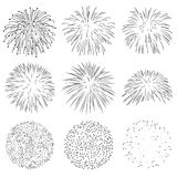 Collection of Vector Firework Rocket Explosion Sparks Set Stock Image