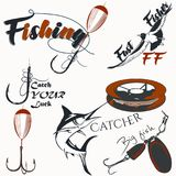 Collection of vector fish logotypes or labels. For design Stock Images