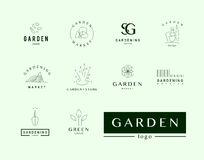 Collection of vector flat elegant logo template for gardening companies. Gardening service brand mark graphic sample Royalty Free Stock Image