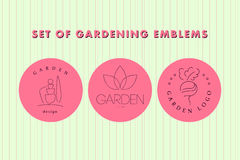 Collection of vector flat elegant logo template for gardening companies. Stock Image
