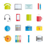 Collection of vector flat icons of office supplies. Royalty Free Stock Photo