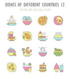 Set of Retro Icons of Dishes of Different Countries. Collection vector flat icons with thin line elements. Set of modern, clean, outline signs, symbol and Royalty Free Stock Photography