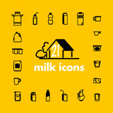 Collection of vector flat milk icons Royalty Free Stock Photo