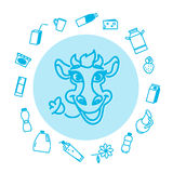 Collection of vector flat milk icons. Royalty Free Stock Image