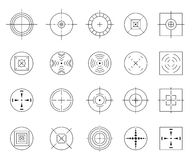 Collection of vector flat simple targets isolated on white background. Different crosshair icons. Aims templates
